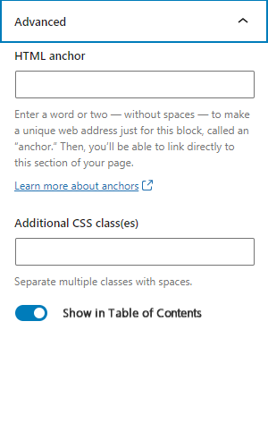 table of contents header modification